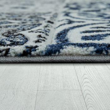 Wohnzimmer Teppich Orient Muster Indigo Blau Weiß Grau Kurzflor Eyecatcher  – Bild 2