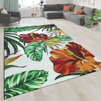 Rug Greenery Flowers White Red Green – Bild 1