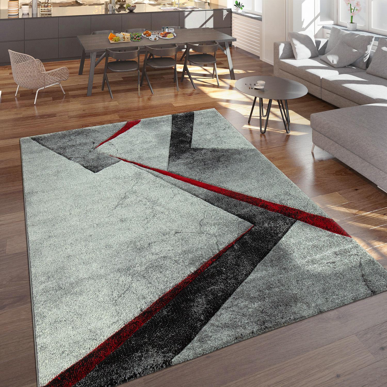 designer teppich moderner kurzflor marmor optik geomterische muster grau rot teppiche kurzflor. Black Bedroom Furniture Sets. Home Design Ideas