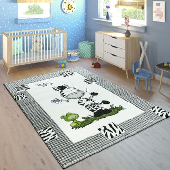 Children's Rug Rainbow Cute Zebra Grey – Bild 1