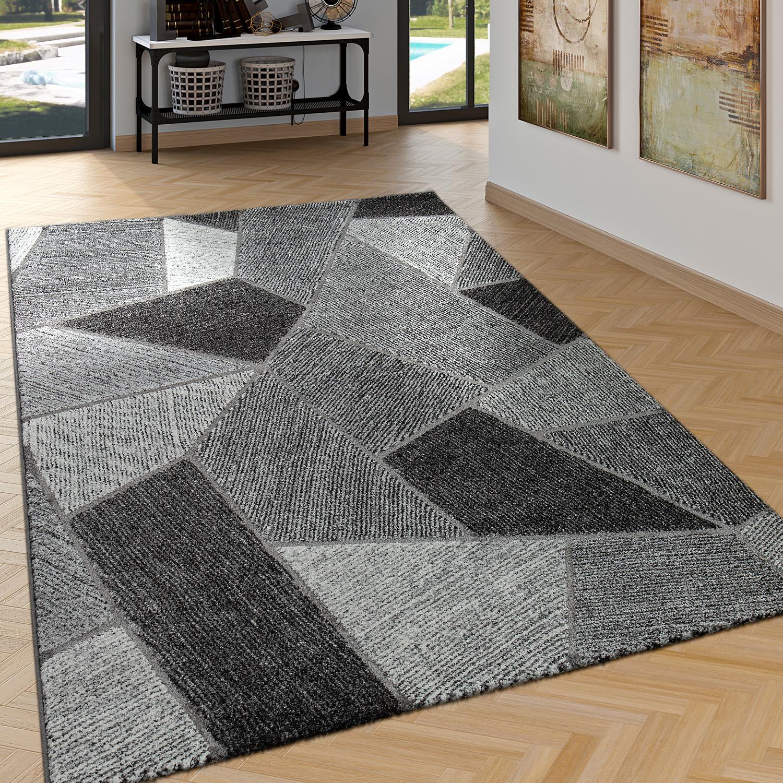 edler designer teppich wohnzimmer hoch tief effekt rauten modern grau teppiche kurzflor teppiche. Black Bedroom Furniture Sets. Home Design Ideas
