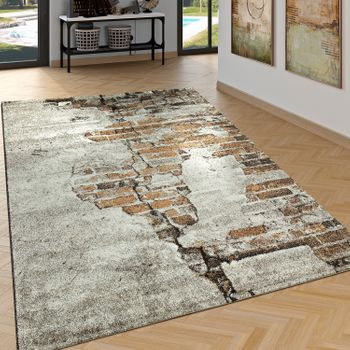 Elegant Designer Rug Living Room High Low Effect Brick Look Modern Brown – Bild 1