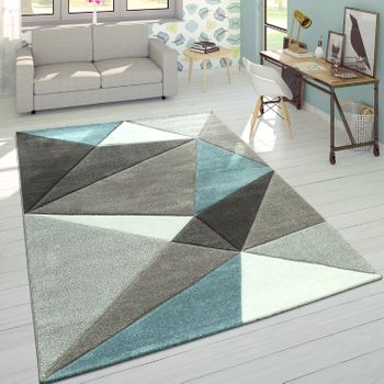 Rug 3D Triangles Pastels Trend Grey Turquoise – Bild 1