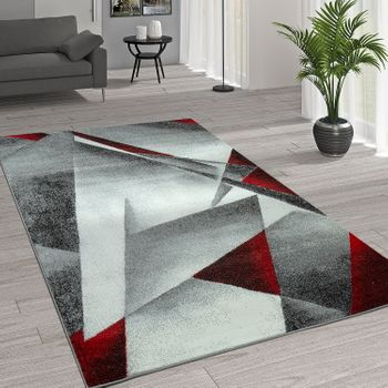 Rug Modern Geometric Patterns Grey Red – Bild 1