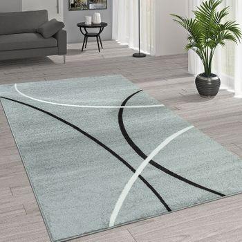 Moderner Teppich Linien Muster Grau