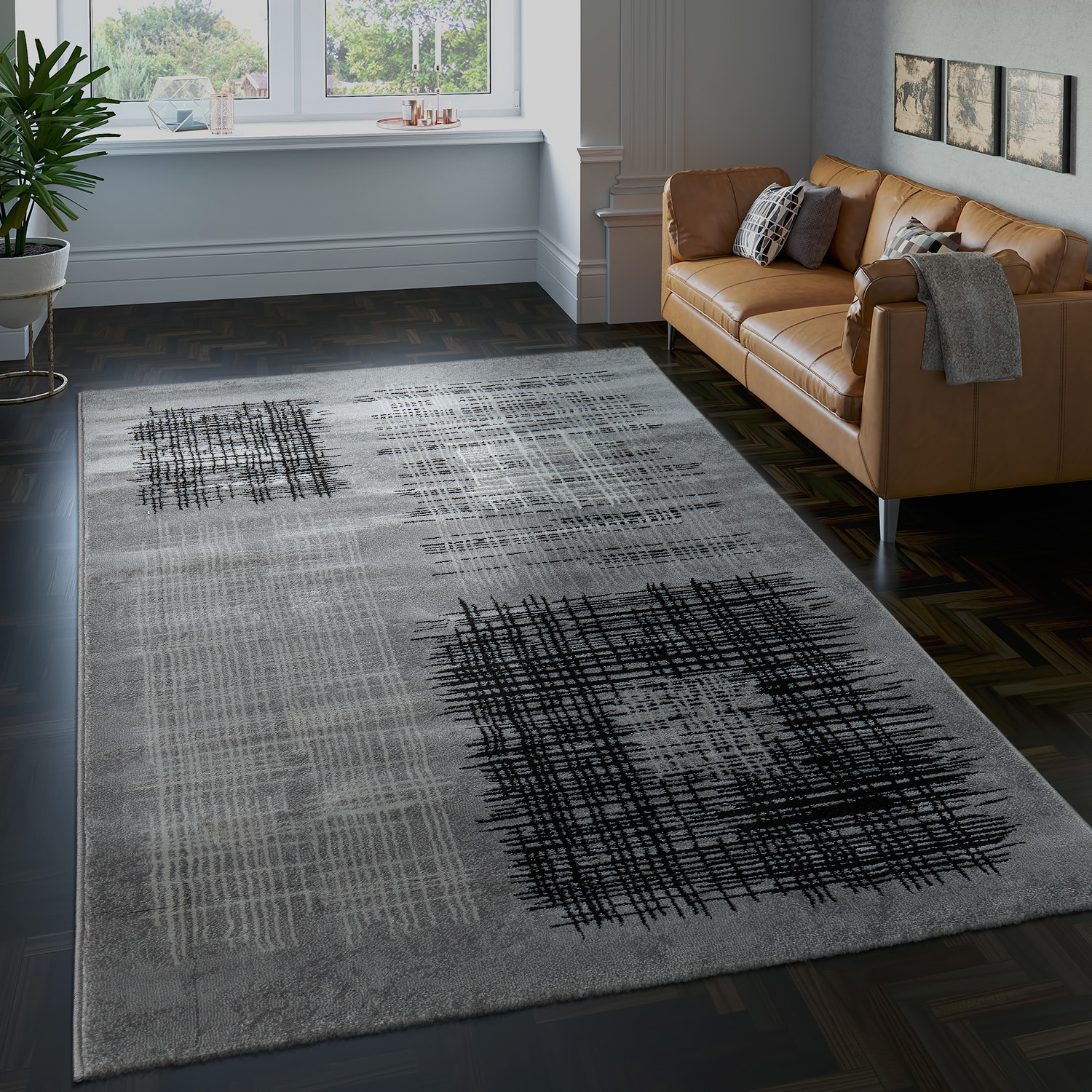 Checked Black Grey Rug: Designer Living Room Rug Checked Pattern Grey