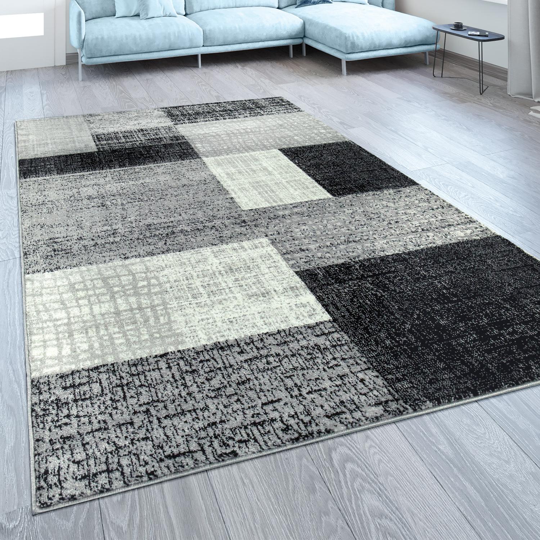 Designer Teppich Karo Design Grau Weiß