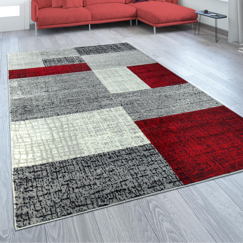 Designer Teppich Karo Design Rot Grau 001