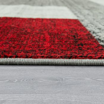 Designer Rug Checked Designer Red Grey – Bild 2