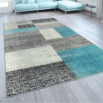 Designer Teppich Karo Design Türkis Grau