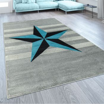 Designer Rug Star Motif Blue Grey