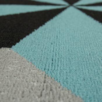 Tappeto di design motivo a stella blu e grigio – Bild 3