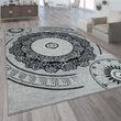 Designer Teppich Mandala Motiv Grau 001