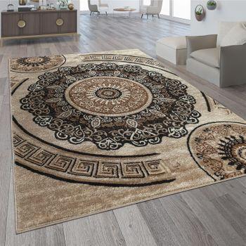 Designer Teppich Mandala Motiv Braun