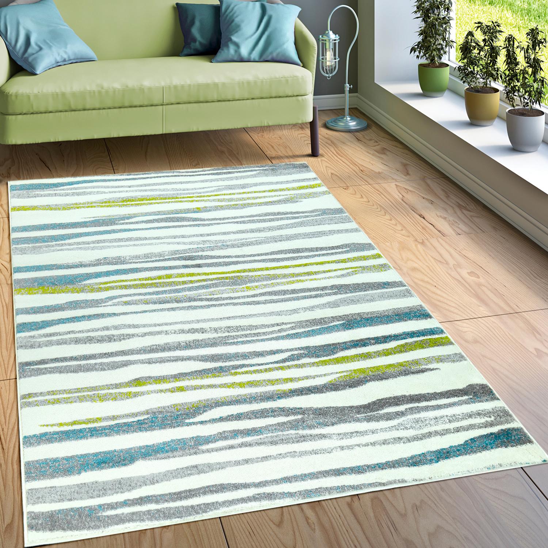 Teppich Modern Wellen Creme Grün Blau
