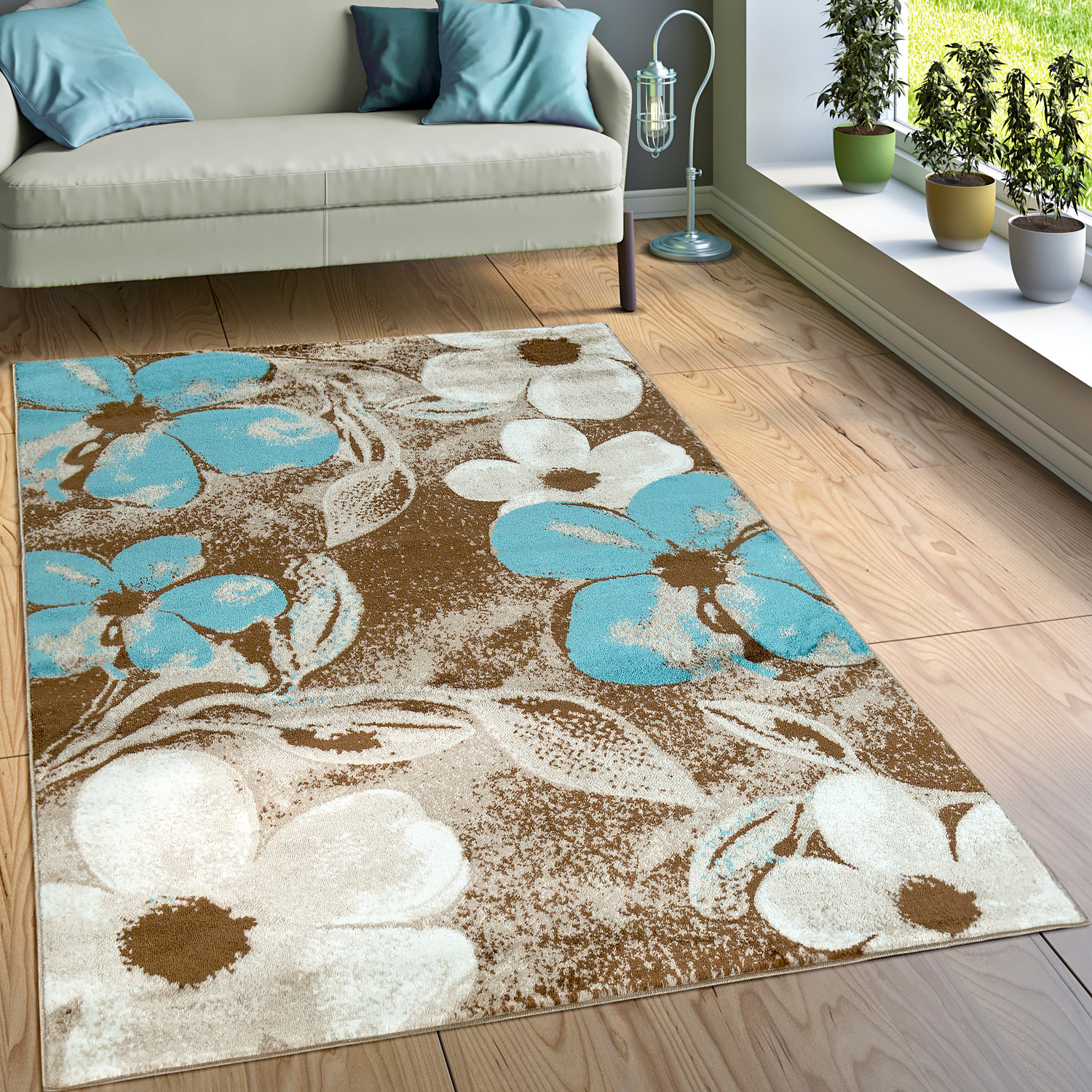 tapis motif fleurs brun bleu tapis tapis poil ras. Black Bedroom Furniture Sets. Home Design Ideas