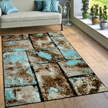 Rug Stone Look Brown Blue