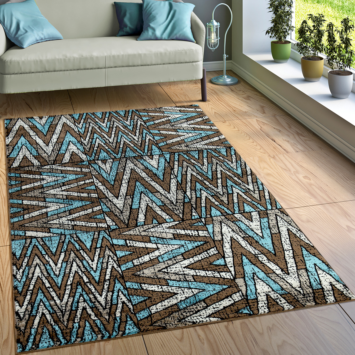 Turquoise And Brown Rug: Rug Zigzag Pattern Brown Turquoise