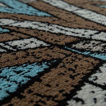 Designer Teppich Wohnzimmer Modernes Zick Zack Muster Braun Beige Türkis – Bild 3