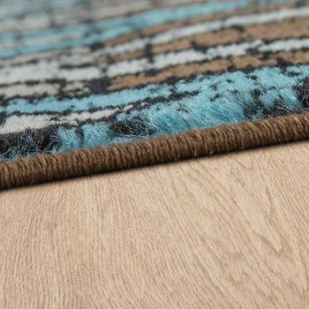 Rug Zigzag Pattern Brown Turquoise – Bild 2