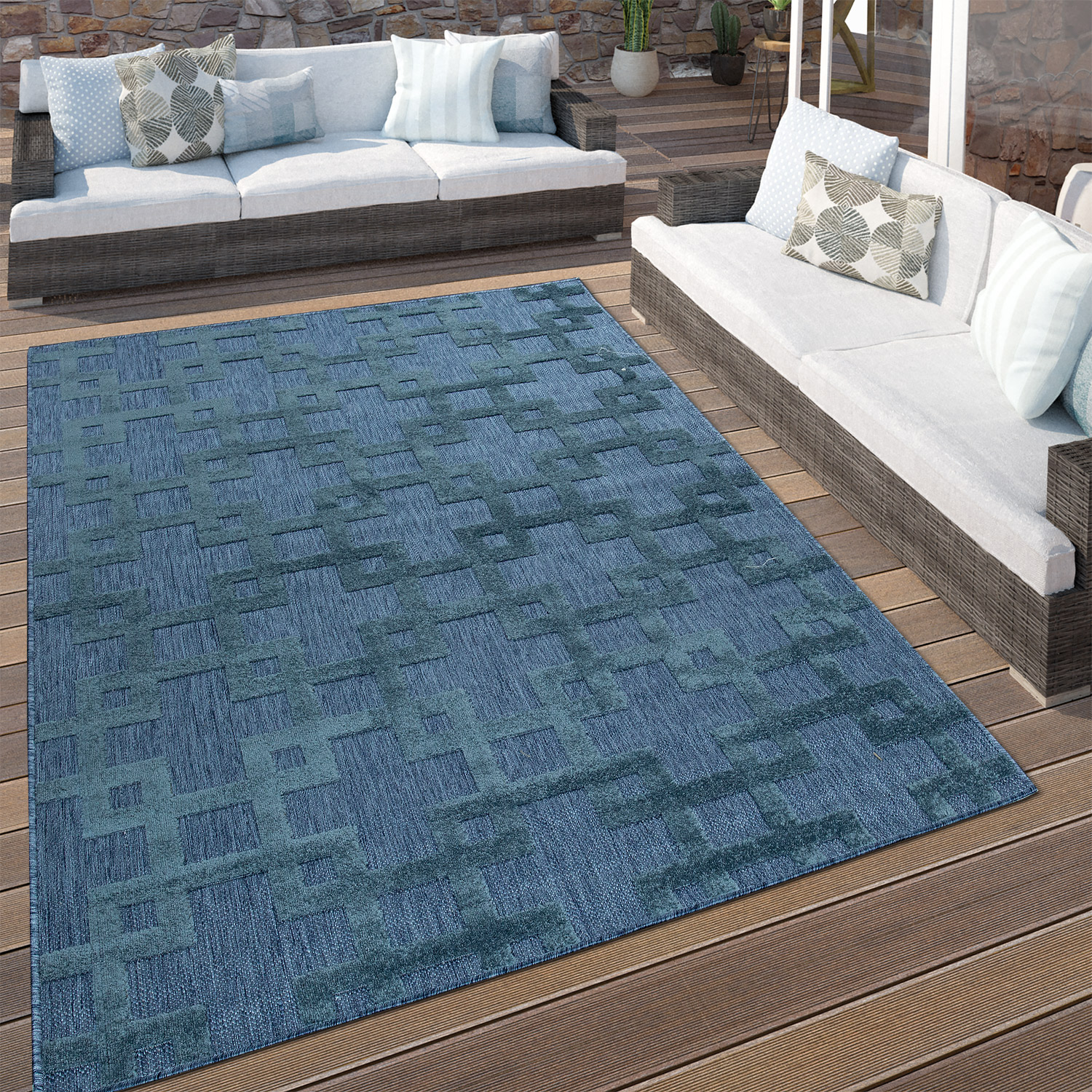 Indoor & Outdoor Rug Crosses Pattern Blue