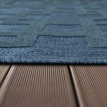 Indoor & Outdoor Rug Crosses Pattern Blue – Bild 3