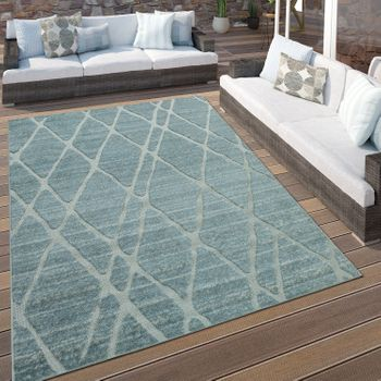 Indoor & Outdoor Rug Diamonds Light Blue – Bild 1