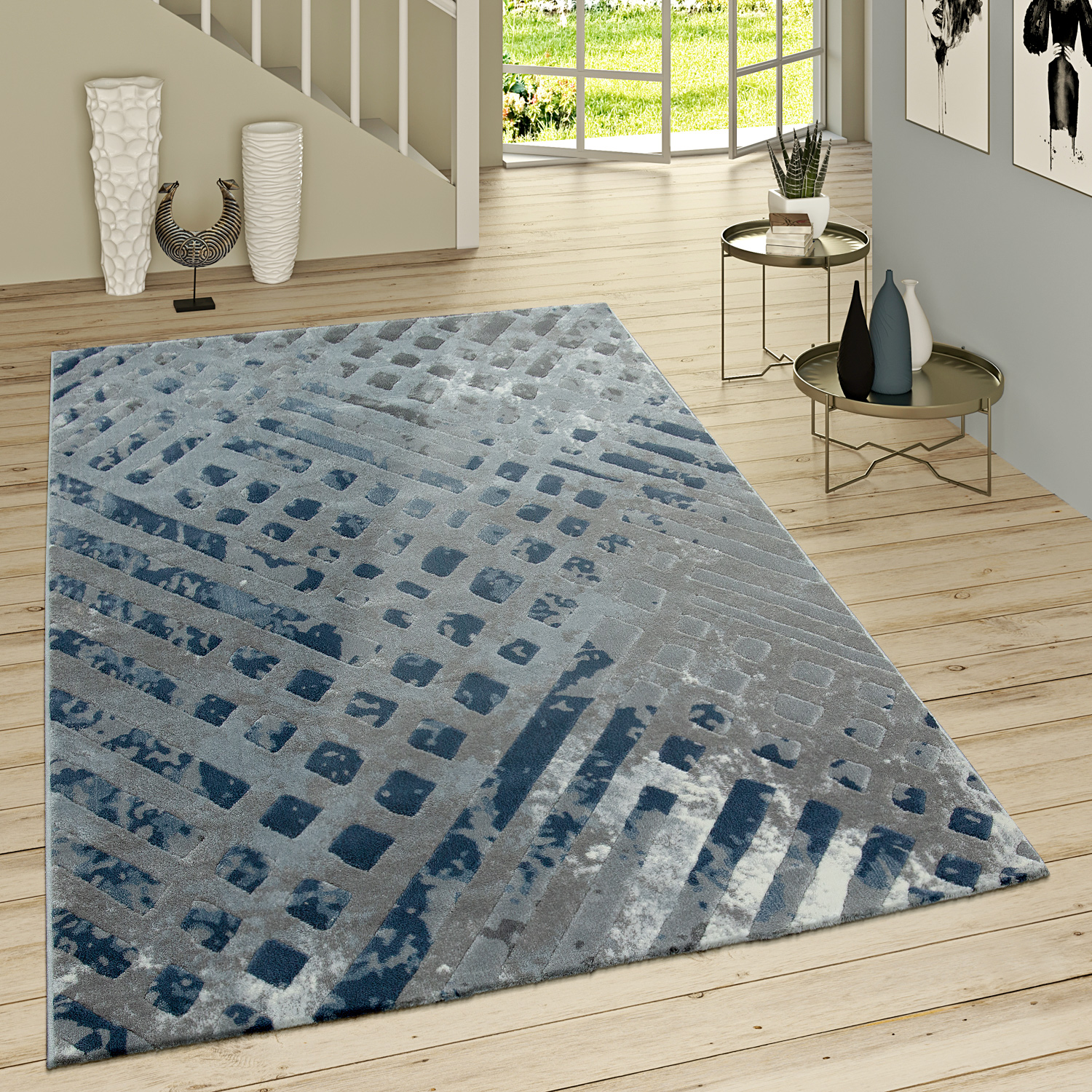 tapis poils ras moderne motif original gris bleu tapis tapis poil ras. Black Bedroom Furniture Sets. Home Design Ideas