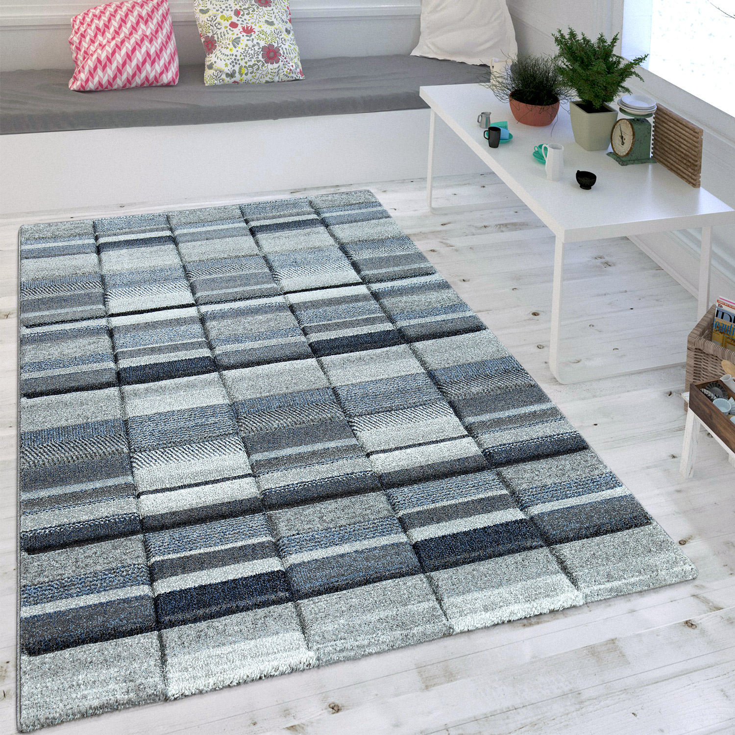 tapis look scandinave pastel bleu gris tapis tapis poil ras. Black Bedroom Furniture Sets. Home Design Ideas