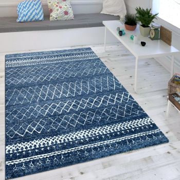Scandi Look Short Pile Rug Indigo Blue – Bild 1