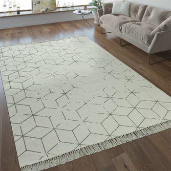Flachgewebe Teppich Gitter Muster Grau – Bild 1