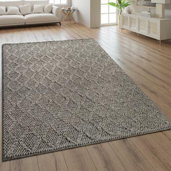 Teppich Handgefertigt Rauten Muster Taupe – Bild 1