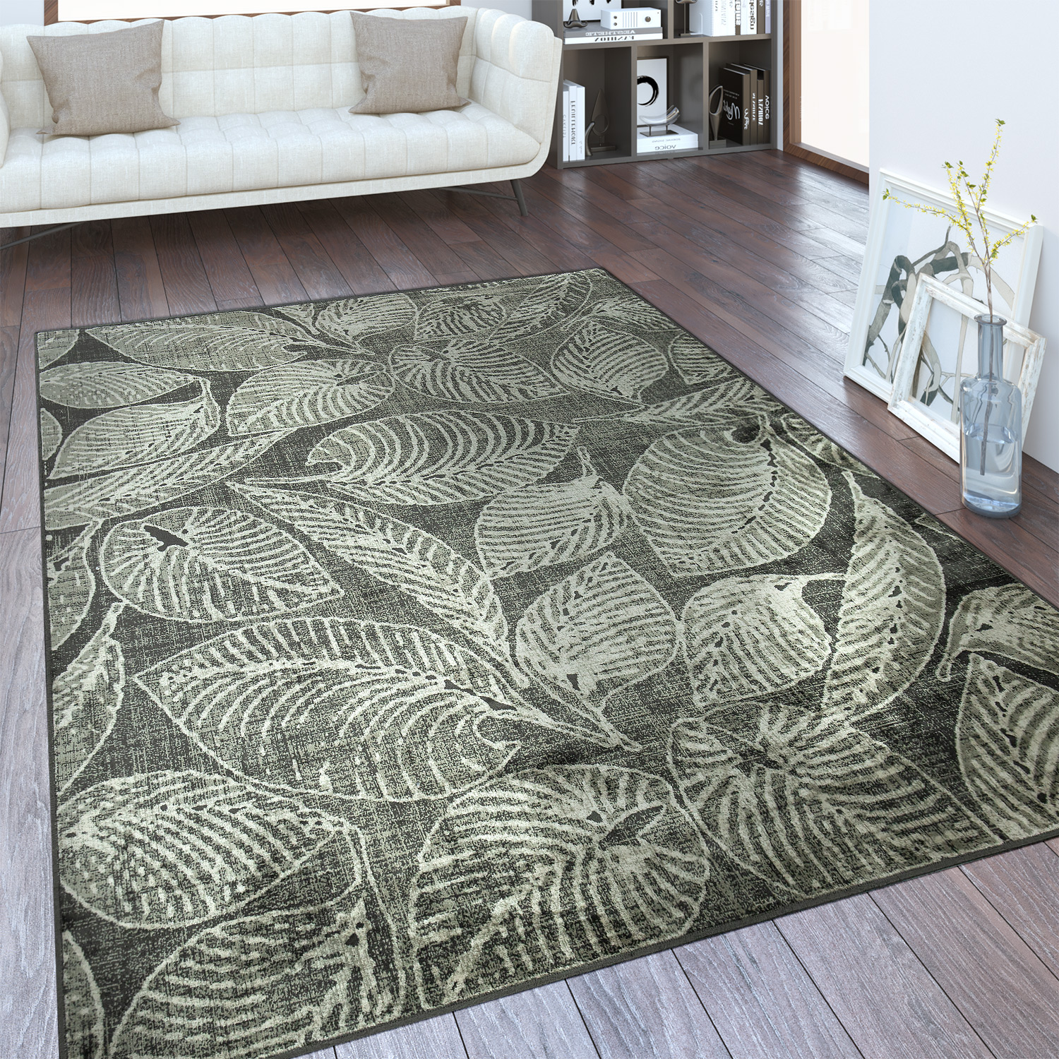 tapis cr ateur feuillage taupe tapis tapis poil ras. Black Bedroom Furniture Sets. Home Design Ideas