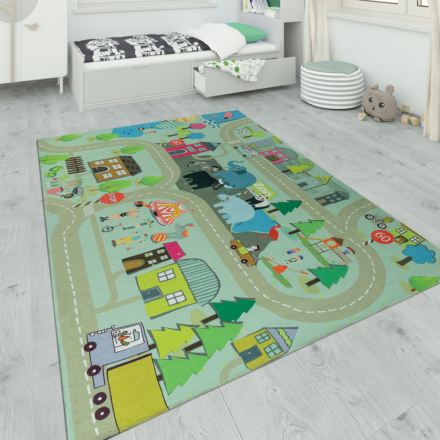 Children's Rug Playroom Zoo Road Beige