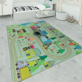 Children's Rug Playroom Zoo Road Beige – Bild 1