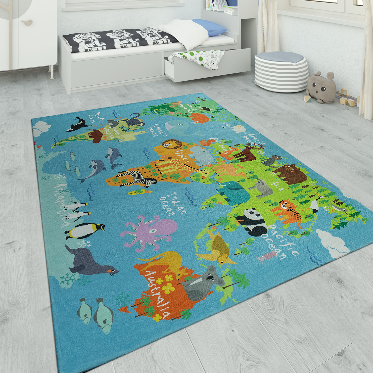 Children's Rug Playroom World Map With Animals Blue