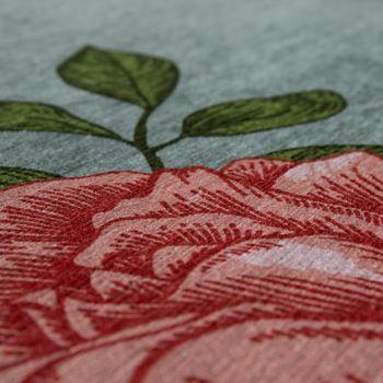 Design-tapijt patroon met rozen en vlinder zilver grijs – Bild 3