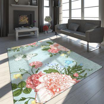 Design-tapijt patroon met rozen en vlinder zilver grijs
