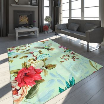 Designer Rug Flying Bird Pastel Green