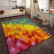 Designer Teppich Rauten Design Multicolor 001
