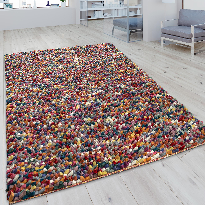 Wollteppich Mosaikoptik Multicolor