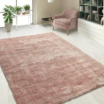 Handgetuftet Hochflorteppich Einfarbig Soft Pink – Bild 1