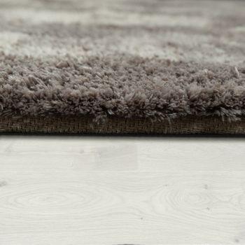 Handgetuftet Hochflorteppich Einfarbig Soft Taupe – Bild 2