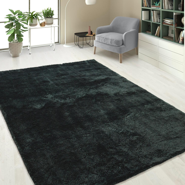 handgetuftet hochflorteppich einfarbig soft anthrazit hochflor teppiche. Black Bedroom Furniture Sets. Home Design Ideas