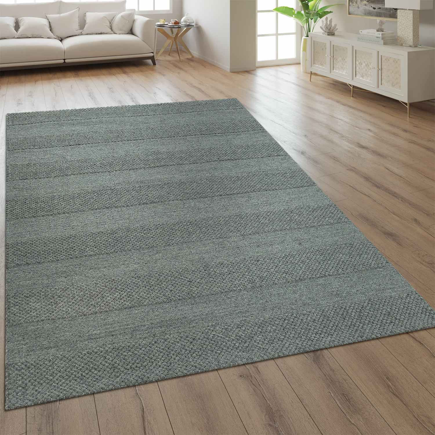 Wool Rug Plain Colours Scandinavian Grey