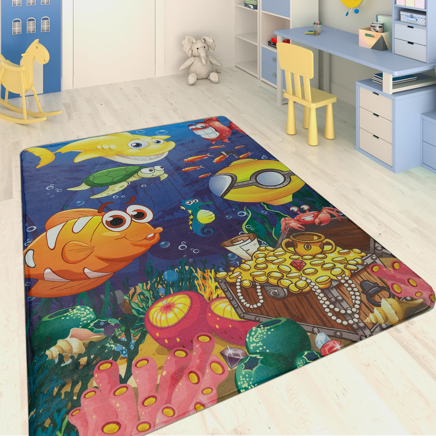 tapis enfant animaux marins multicolore tapis enfants. Black Bedroom Furniture Sets. Home Design Ideas