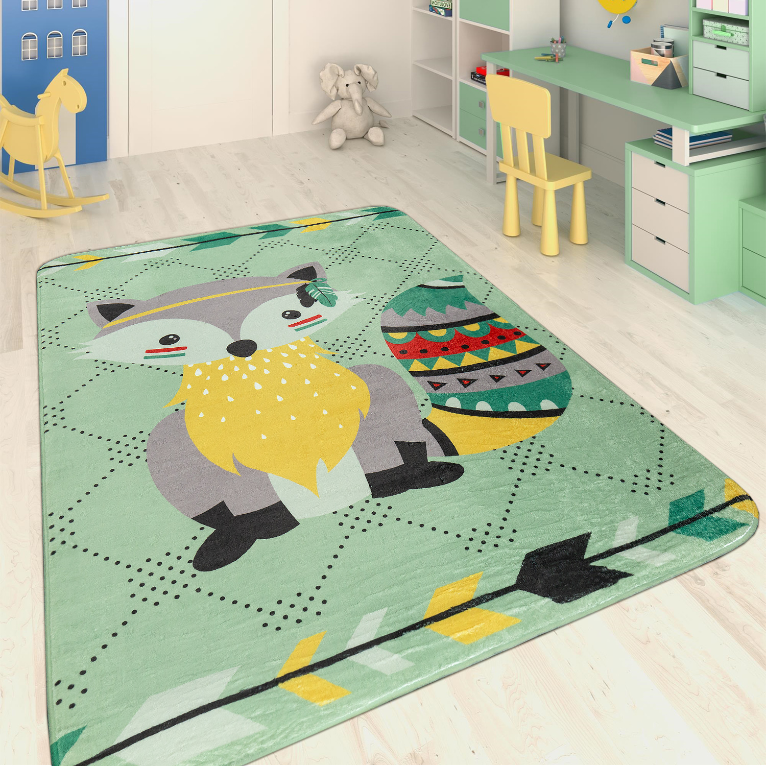 Children's Rug Indian Raccoon Multicolour