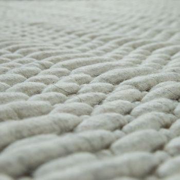Teppich Webmuster Handgefertigt Einfarbig Creme – Bild 3