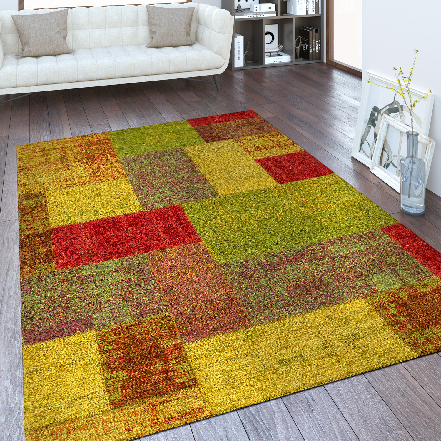 Vintage Flachgewebe Teppich Patchwork Multicolor