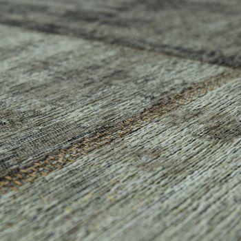 Vintage Flachgewebe Teppich Patchwork Silber Grau – Bild 3